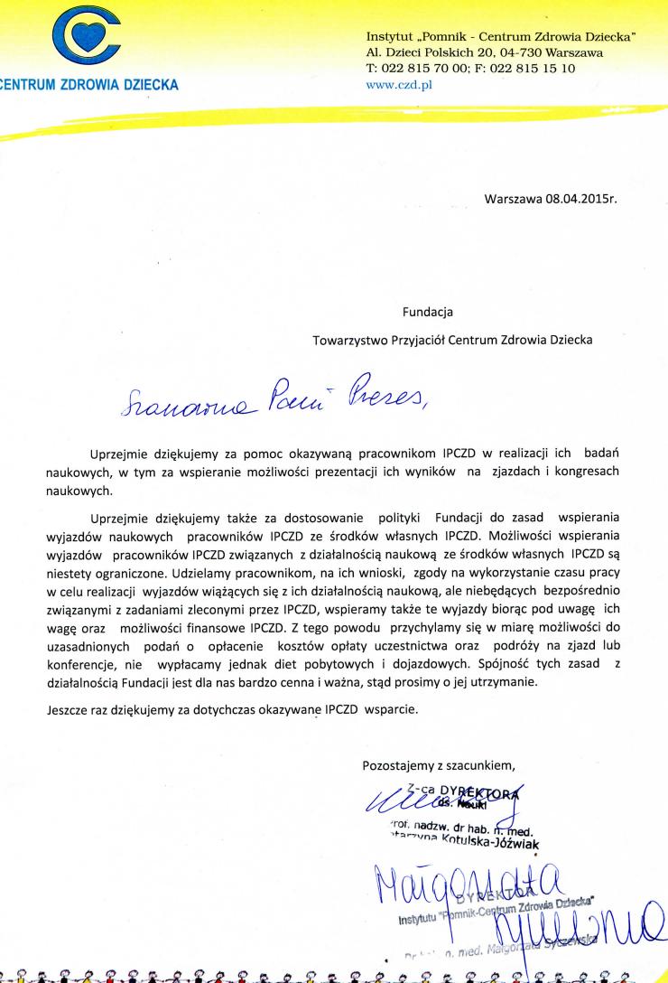 Podziękowanie za pomoc pracownikom IPCZD w realizacji ich badań naukowych - pismo od władz CZD