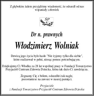 nekrolog - dr nauk prawnych Włodzimierz Wolniak